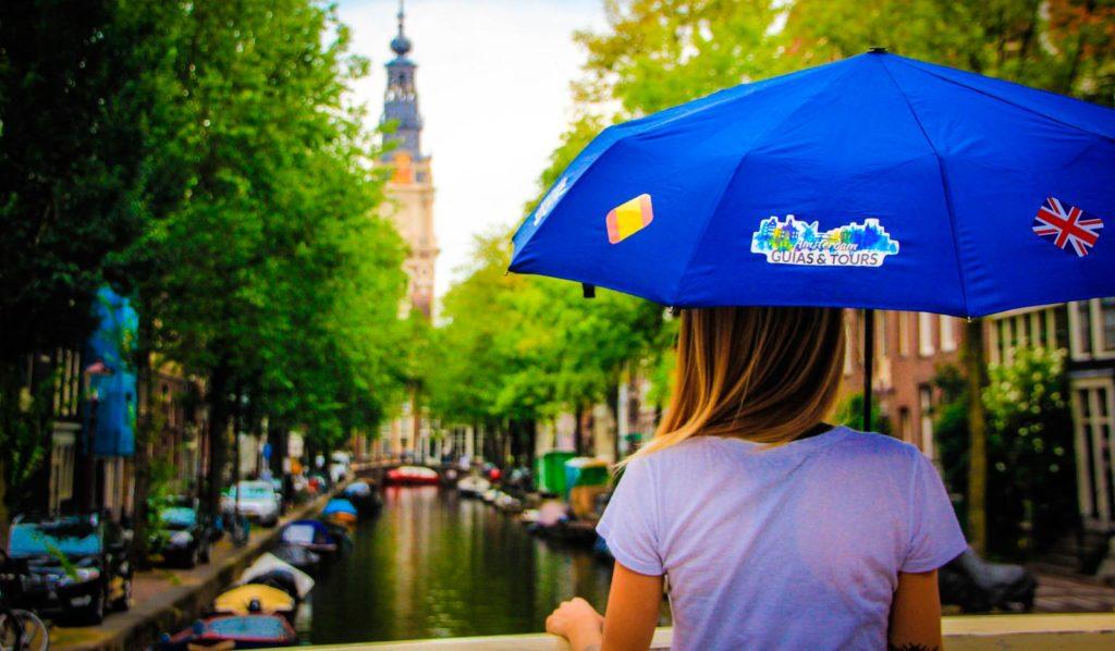 día de lluvia en Ámsterdam